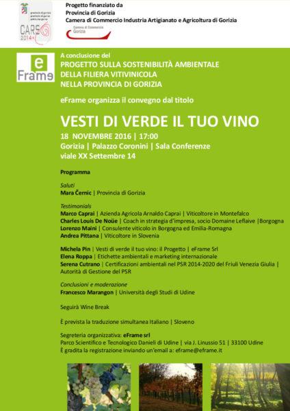 """Convegno """"Vesti di verde il tuo vino"""" su vino e sostenibilità"""